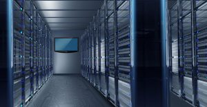 Data Center Alley with Large Wall TV. Hosting Technology Concept Illustration.; Shutterstock ID 171316697; PO: Digital Guide
