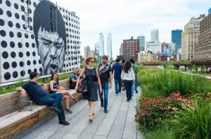 High Line Park in NYC on July 22th, 2012. The High Line is a public park built on an historic freight rail line elevated above the streets on Manhattans West Side.